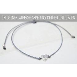 Armband mit Herzperle und deinem Initial in Silber