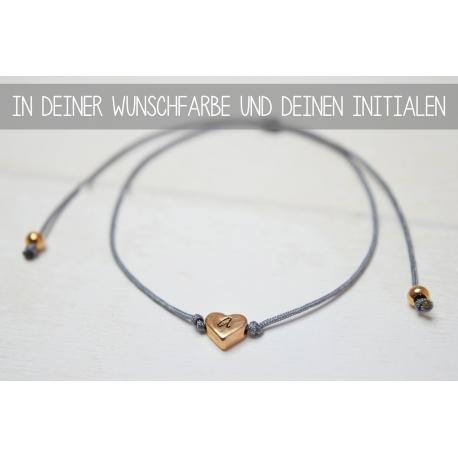 Armband mit Herzperle und deinem Initial in Rosegold