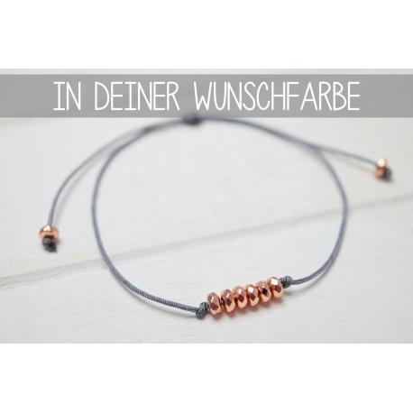 Größenverstellbares Armband mit rosegoldenen Hämatit Perlen in deiner Wunschfarbe!