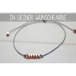 Größenverstellbares Armband mit rosegoldenen Hämatit Disc Perlen in deiner Wunschfarbe!