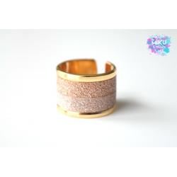 Gold Ring mit Glitter in Rosegold und Vintagerose