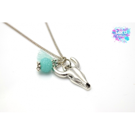 Boho Halskette Silberner Büffelkopf