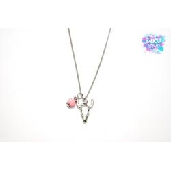 Halskette Silberner Büffelkopf mit rosa Glitzerperle