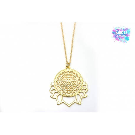 Goldene Sri Yantra Medidationshalkette