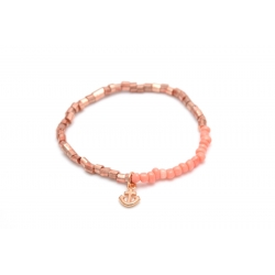 Fußkettchen Rosegoldene Perlen + Anker