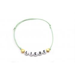 Armband Wunschname/Wort vergoldete Herzen