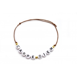 Armband Wunschname/Wort goldene Perlen