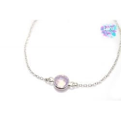 Silbernes Armband mit rosa Kristall