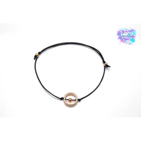 Armband rosegoldener runder Anhänger mit Perlen