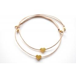 Freundschaftsarmbänder goldenes Herz mit Perlen in deiner Wunschfarbe!