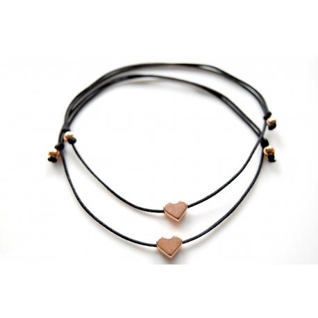 Freundschaftsarmbänder rosegoldenes Herz mit Perlen in deiner Wunschfarbe!