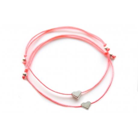 Freundschaftsarmbänder silbernes Herz mit Perlen in deiner Wunschfarbe!