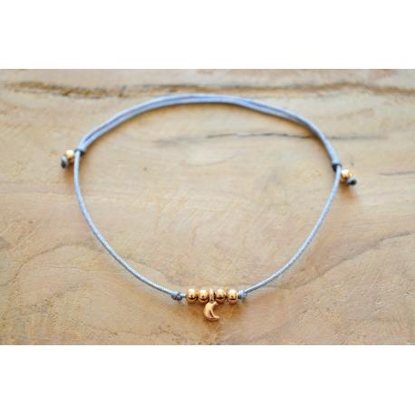 Armband Mond mit Perlen Rosegold