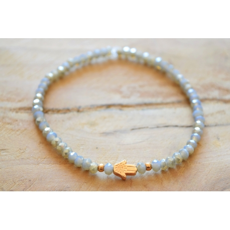 Perlenarmband Hand der Fatima Rosegold